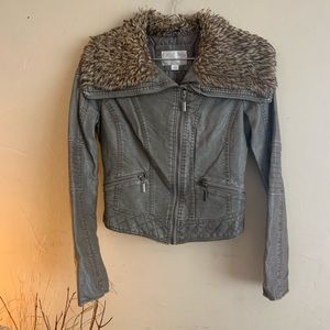 Xhilaration Womens Faux Leather/Fur Jacket gray